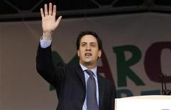 <p>Britain's opposition Labour Party leader Ed Miliband addresses a rally in Hyde Park, during a protest organised by the Trades Union Congress (TUC), called 'The March for the Alternative,' in central London March 26, 2011. REUTERS/Kevin Coombs</p>