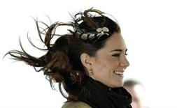<p>The wind blows as Kate Middleton attends a ceremony in north Wales February 24, 2011. REUTERS/Dylan Martinez</p>