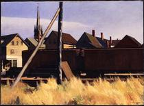 """<p>Edward Hopper's Freight Cars, Gloucester, 1928. Oil on Canvas, is seen in this undated handout photograph. A new exhibit promises to shed light on the life and work of one of the 20th century's most iconic artists -- Edward Hopper. """"Freight Cars, Gloucester,"""" painted during his last working summer in Gloucester, shows his unique perspective, his use of architecture and the industrial paraphernalia of an rapidly industrializing world. REUTERS/Fenimore Art Museum/Handout</p>"""
