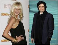 """<p>A modelo Kimberly Stewart (E) na festa da série """"Filhos de Hollywood"""" em 29/03/2007 e o ator Benício del Toro na cerimônia do prêmio espanhol Goya em Madri, em 01/02/2009 Del Toro, 44, espera um bebê com Kimberly Stewart, 31. """"Kimberly está grávida. Benício é o pai e apoia bastante. Embora eles não sejam um casal, estão se preparando para a chegada do bebê"""", disse o porta-voz de del Toro em 11 de abril de 2011. REUTERS/Fred Prouser and Juan Medina</p>"""