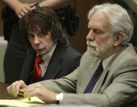 Music producer Phil Spector (L) sits in court with his attorney Dennis Riordan at the Los Angeles Superior Court, during his sentencing for the February 2003 shooting death of actress Lana Clarkson May 29, 2009. REUTERS/Al Seib/Pool