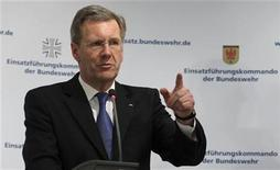 <p>German President Christian Wulff addresses a news conference during his visit to the operations command of the German armed forces, Bundeswehr, in Schwielowsee outside Potsdam near Berlin April 4, 2011. REUTERS/Fabrizio Bensch</p>