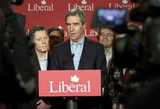 <p>Canada's Liberal leader Michael Ignatieff speaks to the media with local Liberal candidates in Winnipeg, Manitoba April 19, 2011. REUTERS/Fred Greenslade</p>