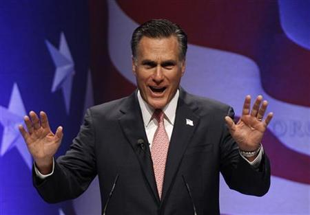 Former Massachusetts Gov. Mitt Romney addresses the 38th annual Conservative Political Action Conference (CPAC) meeting at the Marriott Wardman Park Hotel in Washington, February 11, 2011. REUTERS/Larry Downing