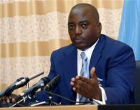 <p>Congo's President Joseph Kabila addresses a news conference in a file photo. REUTERS/Joe Bavier</p>