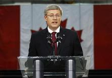 <p>Conservative leader and Canada's Prime Minister Stephen Harper delivers a statement on the death of Osama bin Laden in Abbotsford, British Columbia May 1, 2011. REUTERS/Chris Wattie</p>