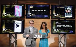 <p>Actors Matthew Broderick (L) and Noni Rose announce the nominees for the American Theatre Wing's 2010 Tony Awards in New York, May 3, 2011. REUTERS/Brendan McDermid</p>