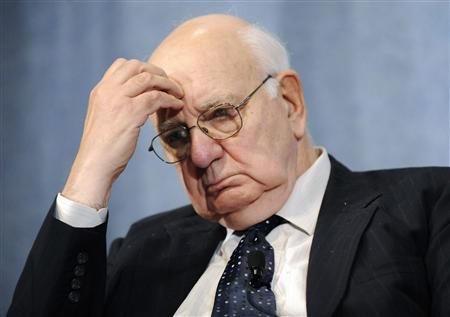 Former Federal Reserve Chairman Paul Volcker listens to comments during a panel discussion, on how the current financial crisis has changed the role of central banks, at the National Press Club in Washington, in this October 11, 2010 file photograph. REUTERS/Jonathan Ernst