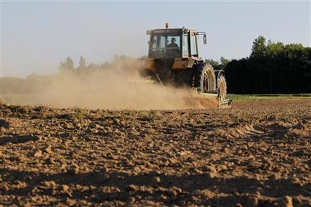 Dust rises from a field as a tractor works the dry earth in Blecourt, northern France, May 12, 2011. REUTERS/Pascal Rossignol