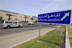<p>A newly erected signboard showing the direction towards Al Farooq Junction (previously the Bahrain GCC Roundabout or Pearl Square) is seen along a road in Manama May 31, 2011. Bahraini authorities in March demolished the monument in Pearl Square following the country's unrest where thousands of Shiite Muslims protested by camping there from February to March. The area will be transformed into a traffic light junction named Al Farooq and the roundabout removed. REUTERS/Hamad I Mohammed</p>
