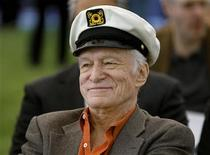 <p>Playboy Magazine founder Hugh Hefner smiles at the news conference for the upcoming Playboy Jazz Festival, at the Playboy Mansion in Los Angeles, California February 10, 2011. REUTERS/Fred Prouser</p>