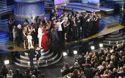 "<p>The cast and crew of ""The Bold and the Beautiful"" accept the award for Outstanding Drama Series during the 38th Annual Daytime Entertainment Emmy Awards at the Las Vegas Hilton in Las Vegas, Nevada, June 19, 2011. REUTERS/Richard Brian</p>"