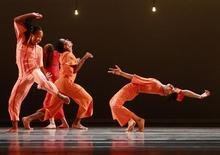 <p>Dancers of the Alvin Ailey dance company perform during a press show at the Stanislavsky Music Theater in Moscow June 28, 2011. REUTERS/Sergei Karpukhin</p>