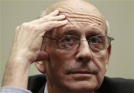 "Supreme Court Justice Stephen Breyer testifies before a House Judiciary Commercial and Administrative Law Subcommittee hearing on ""The Administrative Conference of the United States"" on Capitol Hill in Washington May 20, 2010. REUTERS/Kevin Lamarque"
