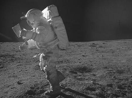 Astronaut Edgar Mitchell on the surface of the moon during the 1971 Apollo 14 mission. REUTERS/NASA