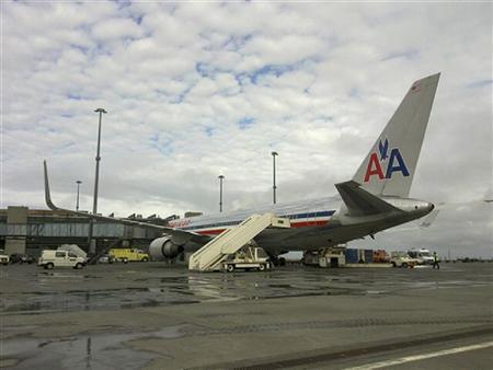 American Airlines Boeing 767-300 stands on tarmac in Reykjavik Keflavik International Airport April 13, 2010. REUTERS/Bjorn Malmquist