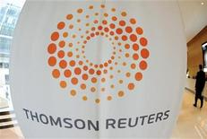 <p>The Thomson Reuters logo at the Thomson Reuters building in Canary Wharf, May 7, 2009. REUTERS/Toby Melville</p>