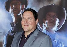 """<p>Director Jon Favreau arrives for the world premiere of the movie """"Cowboys & Aliens in conjunction with Comic Con in San Diego, California July 23, 2011. REUTERS/Mike Blake</p>"""