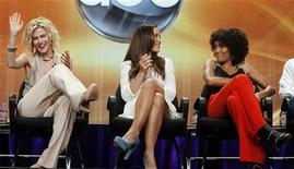 """<p>Actress from the new """"Charlie's Angels"""" series Rachael Taylor laughs as co-stars Minka Kelly and Annie Ilonzeh (L-R) smile, during a panel session at the ABC's Summer TCA Press Tour in Beverly Hills, California August 7, 2011. REUTERS/Fred Prouser</p>"""