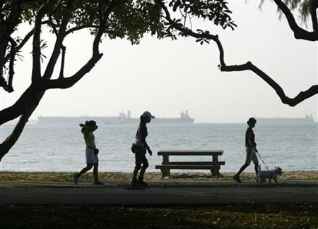 A woman walks a dog as others rollerblade and jog along the waterfront at East Coast Park in Singapore February 7, 2007. REUTERS/Vivek Prakash