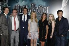 "<p>(L-R) Cast members Oliver Phelps, Mark Williams, James Phelps, Clemence Poesy, Natalia Tena, Evanna Lynch and Jason Isaacs arrive for the premiere of the film ""Harry Potter and the Deathly Hallows: Part 2"" at Bercy in Paris, July 12, 2011. REUTERS/Benoit Tessier</p>"
