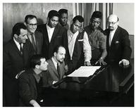 "<p>Rock 'n' Roll songwriters Jerry Leiber and Mike Stoller (L-R, seated at the piano), along with music executives Lester Sill, Jerry Wexler and Ahmet Ertegun, founder of Atlantic Records, and the singing group 'The Coasters"", are shown in this undated publicity photograph released to Reuters August 22, 2011. REUTERS/Courtesy Leiber and Stoller Archives/Handout</p>"