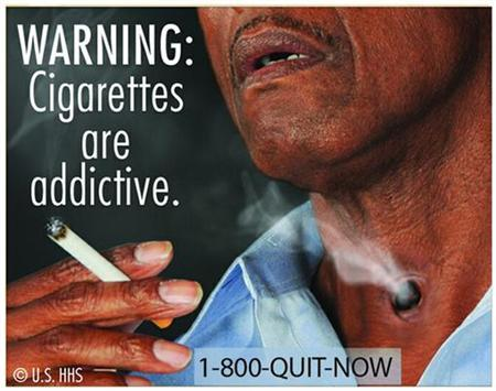 New graphic cigarette packaging, released by the U.S. Food and Drug Administration June 21, 2011, shows a varied collection of dead bodies, diseased lungs and a man on a ventilator were among the graphic images for revamped U.S. tobacco labels, unveiled by health officials who hope the warnings will help smokers quit. REUTERS/U.S. Food and Drug Administration/Handout