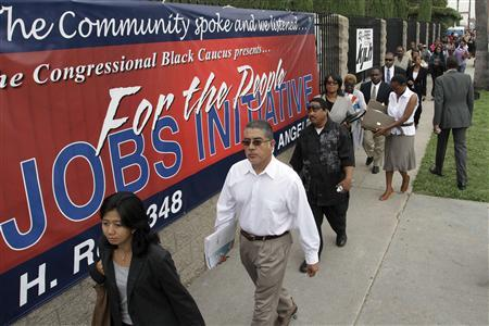 Job seekers line up at the Congressional Black Caucus For The People Jobs Initiative job fair in Los Angeles, California in this August 31, 2011 file photograph. REUTERS/Jonathan Alcorn/Files