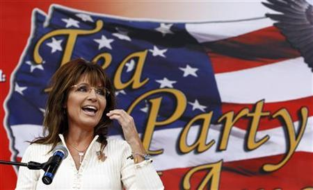 Former Governor of Alaska Sarah Palin speaks to supporters at a rally organized by the Tea Party of America in Indianola, Iowa September 3, 2011 REUTERS/Jim Young