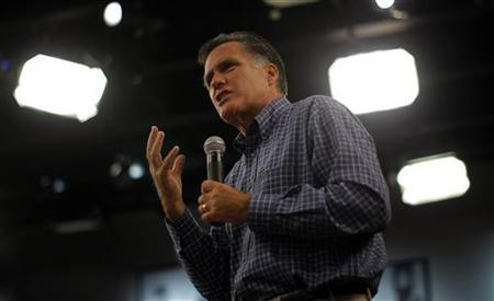 Republican presidential candidate and former Massachusetts Governor Mitt Romney speaks at a town hall meeting at the New Hampshire Institute of Politics at Saint Anselm College in Goffstown, New Hampshire September 28, 2011. REUTERS/Brian Snyder
