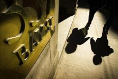 <p>People walk by a Bay Street sign at the financial district in Toronto, October 10, 2008. REUTERS/Mark Blinch</p>