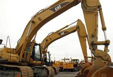 <p>Caterpillar construction machines sit parked at the Patten Cat dealership in Hammond, Indiana, in this October 20, 2006 file photo. REUTERS/Joshua Lott/Files</p>
