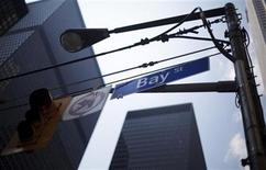 <p>A Bay Street sign is seen in the heart of the financial district in Toronto, August 17, 2009. REUTERS/Mark Blinch</p>