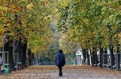 <p>A man walks in downtown Milan November 11, 2011. REUTERS/Alessandro Garofalo</p>
