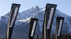 <p>Banners for the company Bombardier are shown at a sporting event in Lake Louise, Alberta December 2, 2009. REUTERS/Andy Clark</p>