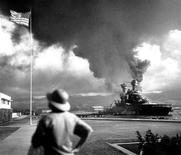 <p>The U.S. Navy battleship USS California is seen ablaze after an attack by Japanese carrier based strike aircraft on the Hawaiian port of Pearl Harbor December 7, 1941. December 7, 2011 marks the 70th anniversary of the Pearl Harbor attack in which over 2,400 members of the United States military were killed. Picture taken December 7, 1941. REUTERS/U.S. Navy Photograph/Newscom/Handout</p>