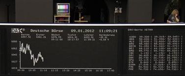 <p>Tableau du Dax à la Bourse de Francfort. Les places boursières européennes sont en léger recul lundi à la mi-séance. Vers 12h30 GMT, le CAC 40 gagne 0,25% à 3145,71 points, mais Francfort recule de 0,14%, Londres de 0,16% et Milan de 0,13%. /Photo prise le 9 janvier 2012/REUTERS/Remote/Amanda Andersen</p>