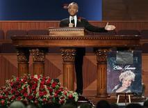 <p>Reverend Al Sharpton delivers the eulogy at the funeral for singer Etta James, who died last week at age 73, at City of Refuge in Gardena, California, January 28, 2012. REUTERS/Jonathan Alcorn</p>