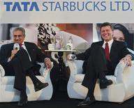 <p>Vice Chairman of Tata Global Beverages R.K. Krishna Kumar and President of Starbucks China and Asia Pacific John Culver (R) attend a news conference in Mumbai, January 30, 2012. REUTERS/Danish Siddiqui</p>