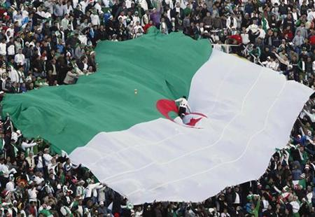 Algeria's fans hold their national flag as they cheer during their international friendly soccer match against Serbia in Algiers March 3, 2010. REUTERS/Louafi Larbi