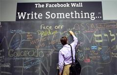<p>An employee writes a note on the message board at the new headquarters of Facebook in Menlo Park, California January 11, 2012. REUTERS/Robert Galbraith</p>