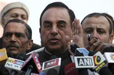 <p>Subramanian Swamy, an opposition politician who brought the petition to revoke the telecom licences issued in 2008, speaks with the media after a verdict outside the Supreme Court in New Delhi February 2, 2012. REUTERS/Parivartan Sharma</p>