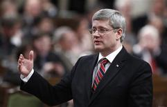 <p>Prime Minister Stephen Harper speaks during Question Period in the House of Commons on Parliament Hill in Ottawa February 1, 2012. REUTERS/Chris Wattie</p>