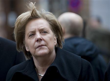 German Chancellor Angela Merkel looks around during a guided walking tour of the northern German city of Stralsund February 24, 2012. REUTERS/Morris Mac Matzen