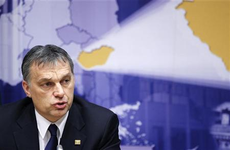 Hungary's Prime Minister Viktor Orban addresses a news conference at the end of a European Union leaders summit in Brussels March 2, 2012. REUTERS/Francois Lenoir