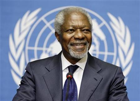 Joint Special Envoy of the United Nations and the Arab League for Syria Kofi Annan smiles during a news conference after the meeting of the Action Group on Syria at the United Nations European headquarters in Geneva, June 30, 2012. REUTERS/Valentin Flauraud
