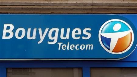 A Bouygues Telecom company logo is seen on the facade of a building in Paris March 16, 2012. REUTERS/Charles Platiau