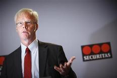 <p>Alf Goransson, le PDG de Sécuritas. Le numéro deux mondial des services de sécurité, a enregistré une baisse inattendue de son bénéfice avant impôts au deuxième trimestre, plombé par une baisse de ses marges aux Etats-Unis et une dégradation plus rapide que prévu du marché espagnol. /Photo d'archives/REUTERS/Fredrik Persson/Scanpix</p>