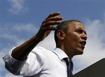 <p>Foto del viernes del presidente de Estados Unidos, Barack Obama, en un acto de campaña en New Hampshire. Sep 7, 2012. REUTERS/Larry Downing</p>
