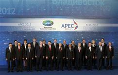 <p>Les pays de la région Asie-Pacifique, Chine, Etats-Unis et Japon en tête, se sont engagés dimanche à soutenir la croissance économique et ont rejeté les mesures de limitations des exportations agricoles. /Photo prise le 9 septembre 2012/REUTERS/Sergei Karpukhin</p>